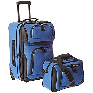 US Traveler Rio Two Piece Expandable Carry-On Luggage Set, Royal Blue, One Size