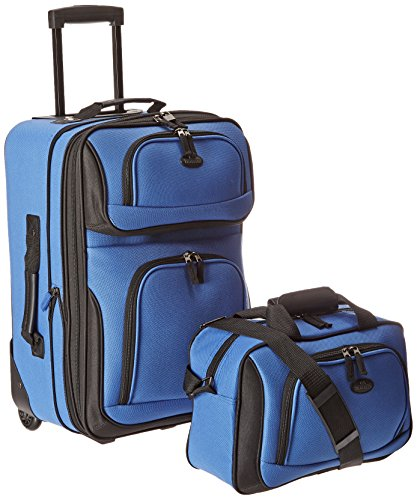 (Traveler's Choice Rio Carry-On Lightweight Expandable Rolling Luggage Suitcase Set - Royal Blue (15-Inch And 21-Inch))