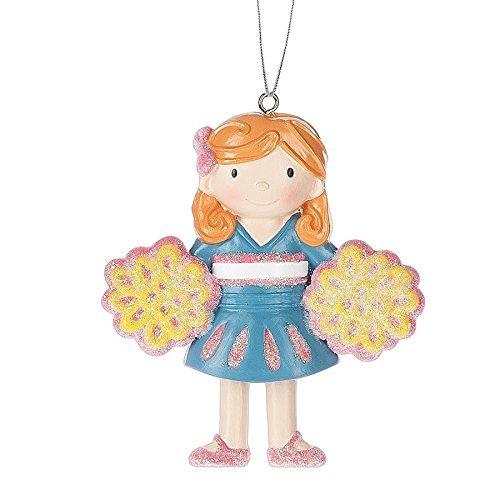 Shimmer Cheerleader Pom Pom Resin Stone Christmas Ornament Figurine (Figurine Cheerleader)