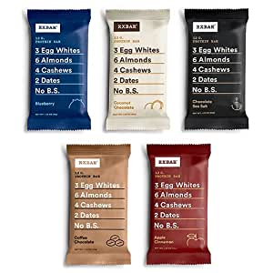 RXBAR Whole Food Protein Bar, Whole30 Compliant Variety Pack, 5 Flavors (30 Bars)