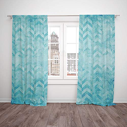 2 Panel Set Thermal Insulated Blackout Window Curtain,Turquoise Decor Geometric Design Chevron Patterns on Old Vintage Paper Decorating Contemporary Art Turquoise,for Bedroom Living Room Dorm Kitchen