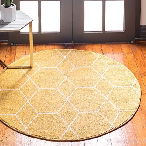 Unique Loom Trellis Frieze Collection Lattice Moroccan Geometric Modern Yellow Round Rug (8' 0 x 8' 0) ()