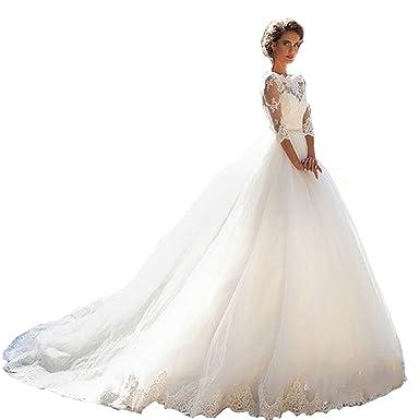 Damen Hochzeitskleider Prinzessin Spitze Tüll A-Linie Lang ...