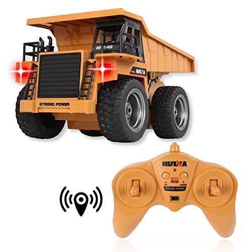 WolVol 6 Channel Electric Rc Remote Control Full Functional Dump Truck Toy for Kids with Lights, Metal Die-Cast ()