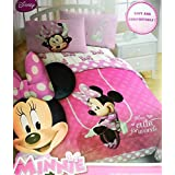 Disney Minnie Mouse Twin Sized 4 Piece Bedding Set - Reversible Comforter & Sheet Set