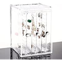 OnDisplay Deluxe Acrylic Sliding Drawer Earring Cabinet Organizer, Clear, NULL