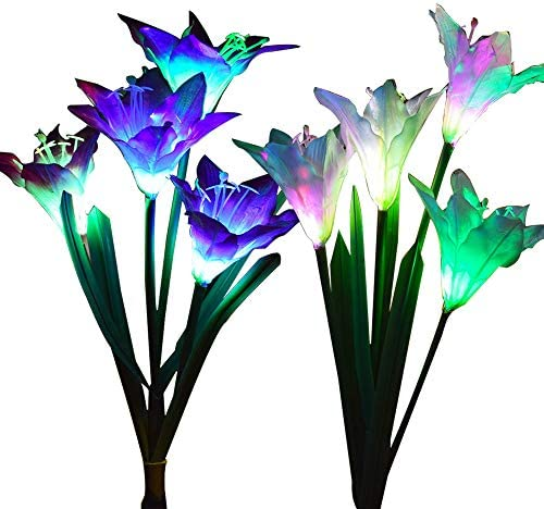 Outdoor Solar Garden Stake Lights – Wohome 2 Pack Solar Flower Lights with 8 Lily Flower,Multi-Color Changing LED Lily Solar Powered Lights for Patio,Yard Decoration