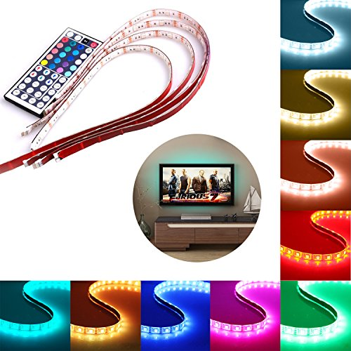 USB LED Strip Light, Savvypixel 4x1.64ft RGB LED Rope Lighting Strips, TV LED Strips Backlight with 44 Key Mini Control for TV Desktop PC