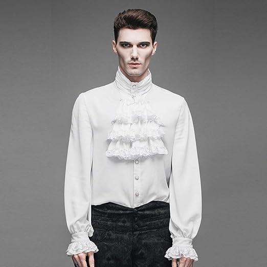 Camisas para Hombre Regular Fit, Camisa Delgada para Hombre Camisa de Cuello Alto Camisa de Marea (Color : Blanco, tamaño : Metro): Amazon.es: Hogar