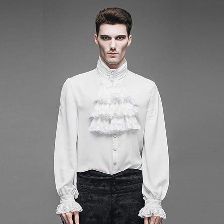 Camisa Delgada para Hombre Camisa de Cuello Alto Camisa de Marea (Color : Blanco, tamaño : L): Amazon.es: Hogar