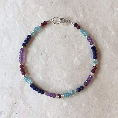 (Amethyst Lapis Lazuli Apatite Garnet Karen Hill Tribe Thai Silver Beaded Bracelet, Sundance Style, Boho Bracelet, Layering Bracelet 3mm by Gemswholesale)