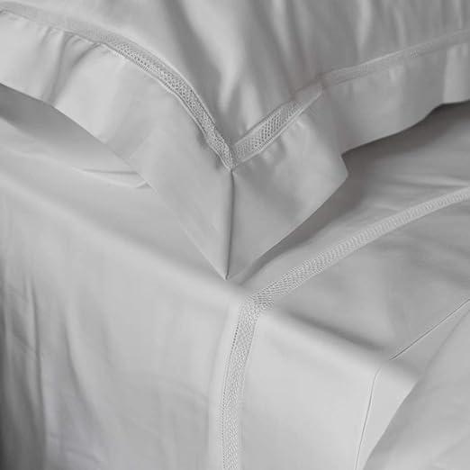 Victoria - Sábana encimera de algodón egipcio de 300 hilos, 240 x 280 cm, color blanco, ropa de cama fabricada en Portugal: Amazon.es: Hogar