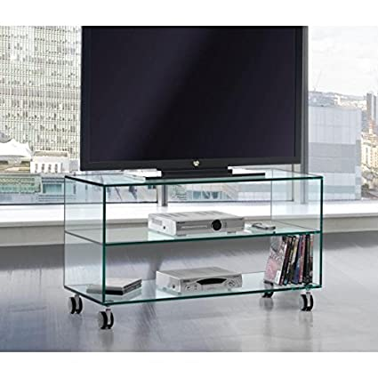 Crespo Decoración Mesa TV tres estantes.Vidrio transparente de seguridad medidas 90 x 38 altura