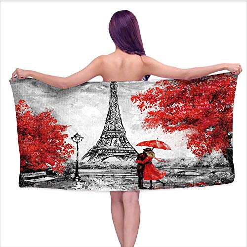 Leigh home Microfiber Beach Towel,Oil Paint Paris Europe City dscape fr ce Wallpaper Eiffel Tower,Towel for Travel Swim Pool Yoga Camping Gym Sport W 31.5