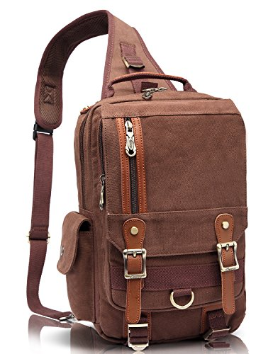 (KAUKKO Canvas Leather Crossbody Messenger Bag One Strap Sling Travel Hiking Chest Bag Coffee)