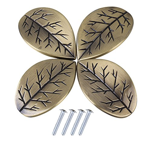 loy Single Hole Retro Leaves Design Cabinet Drawer Doors Pull Knob Handle Pack of 4 ()