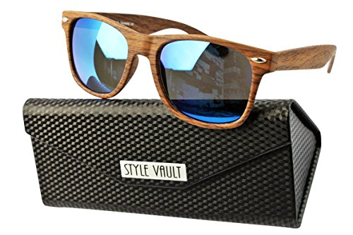 W1000-fc Style Vault Wayfarer 80s wood pattern Sunglasses (S1982V Woody Brown-Blue Mirror w/ case)