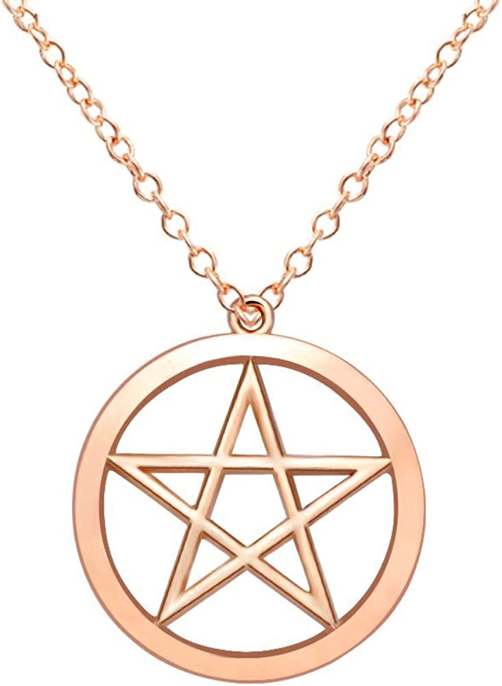 MANZHEN Gold Silver Supernatural Star Pentagram Pentacle Pendant Necklace Wicca Pagan Jewelry
