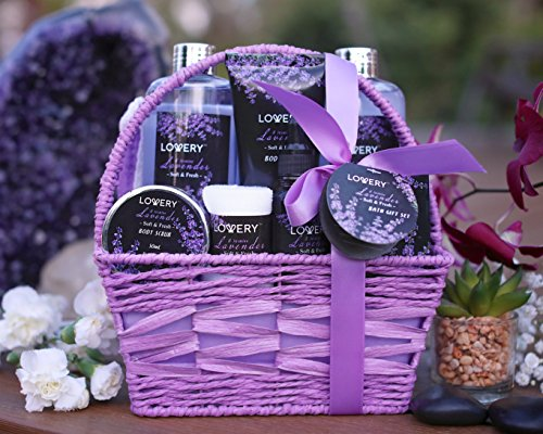 Home Spa Gift Basket, 9 Piece Bath & Body Set for Women and Men, Lavender & Jasmine Scent - Contains Shower Gel, Bubble… 5