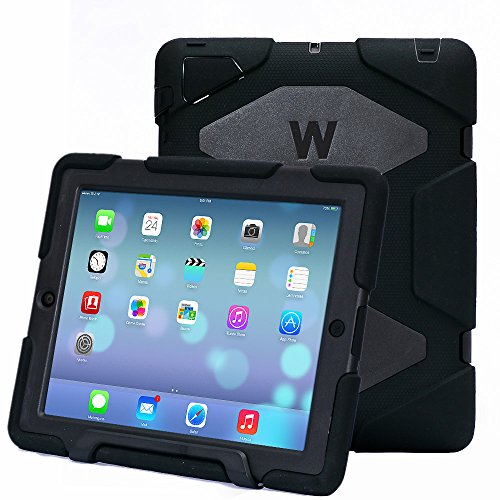 Ipad 2/3/4 Case, Kidspr Ipad Case *New* *Hot* Super Protect [Shockproof] [Rainproof] [Sandproof] with Built-in Screen Protector for Apple Ipad 2/3/4 (Black/Black)