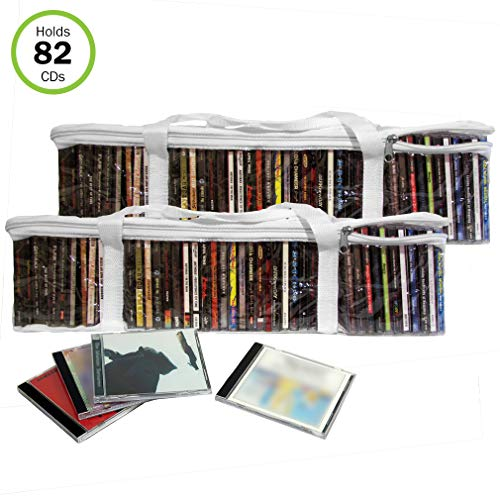 Evelots CD Music Storage Clear Bags,Easy to Carry, Holds 82 CDs Total,Set/2
