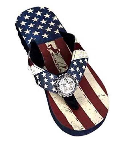 Montana West JP Lone Star USA Flag Patriotic American Flip Flops Sandals Red Blue (9) (Flip Flop Patriotic Usa)