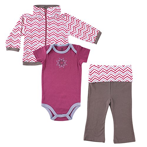 Yoga Sprout Infant 3 Piece Jacket, Top and Pant Set, Girl Lotus, 9-12 (Match Jacket Pants)