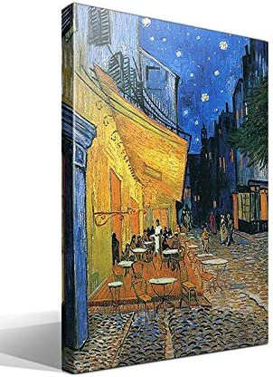 Cuadro Canvas Terraza de un Café en la Plaza Forum de Arlés de Vincent Willem van Gogh - Ancho: 70cm - Alto: 95cm - Cuadro de calidad superior - Fabricado en España