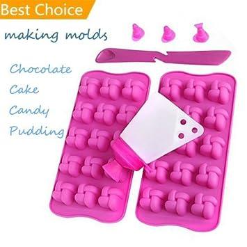 Kit picaduras de chocolate bandeja de horno para tartas Candy bombones pralinen-set herramienta de silicona, rosa: Amazon.es: Hogar