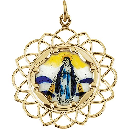 Jewels By Lux 10K Yellow Gold 25mm Milagrosa Framed Enamel Pendant