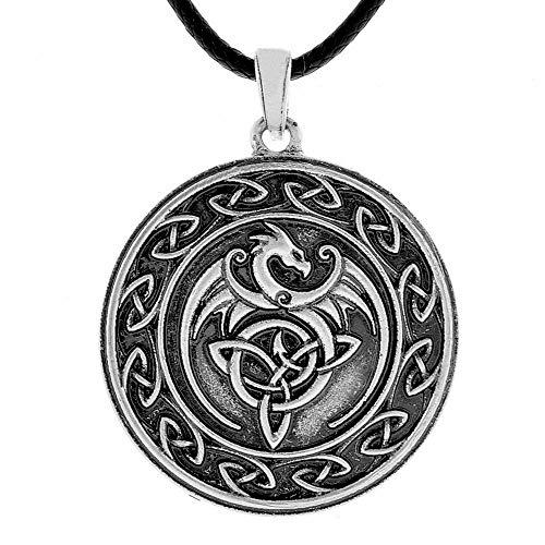 - QIANJI Celtic Dragon Pendant Necklace Cletic Knot Wolf Necklace Women Men Vintage