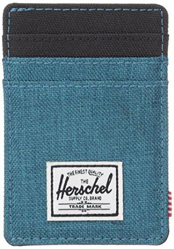 herschel-supply-co-mens-raven-card-holder-with-money-clip-petrol-crosshatch-black-one-size