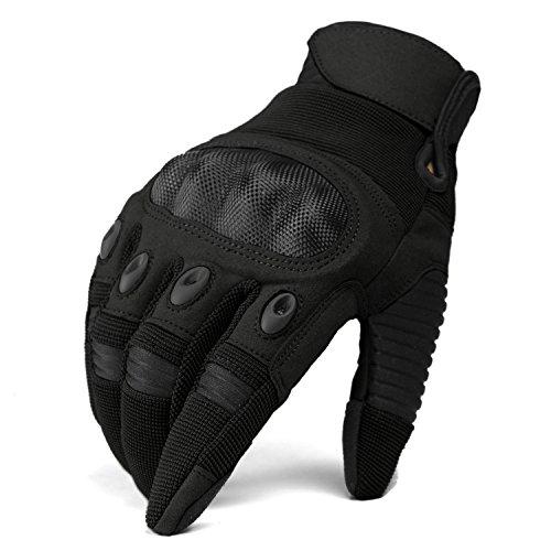 TACVASEN Wear-resistant Tactical Shooting Full Finger Motorbike Riding Military Assault Gloves Black - Black Assault Gloves