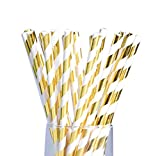 LAAT 25Pcs Paper Straws Stripe Drinking Paper Straws Pack Biodegradable Straws Party Home Decoration for Birthday, Wedding,Halloween, Christmas, Celebration Parties (Golden)