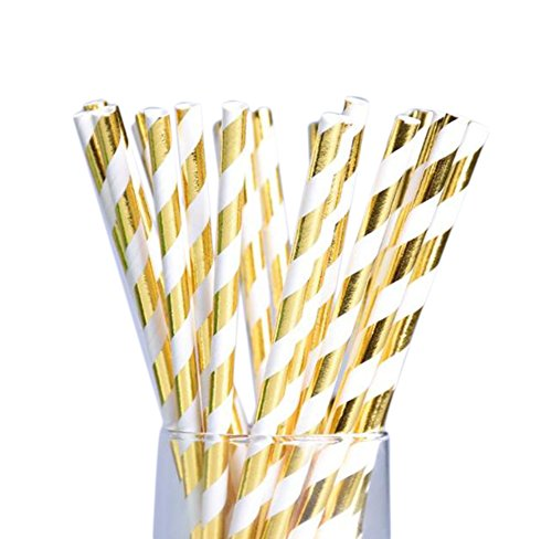 LAAT 25Pcs Paper Straws Stripe Drinking Paper Straws Pack Biodegradable Straws Party Home Decoration for Birthday, Wedding,Halloween, Christmas, Celebration Parties -