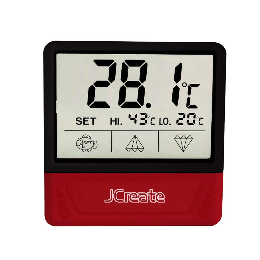 Fish Tank Thermometer, Touch Screen Digital Aquarium Thermometer with LCD Display, stick-on temperature sensor ensures optimum temperature in terrarium, for your pet amphibians and reptiles (Red)