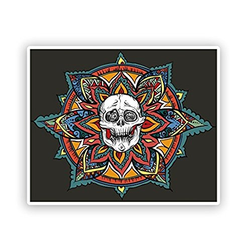 Skull with Flowers Vinyl Stickers Scary Halloween -