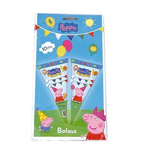 Peppa Pig - 10 bolsas cono para cumpleaños y celebraciones, 20x40 cm (Verbetena 016000715)