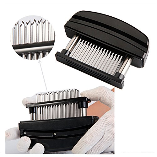 Ultra Sharp Professional Needle Meat Tenderizer. 48 Stainless Steel Blades for Perfect Tender Steak, Chicken and Pork. Commercial Restaurant Quality, Easy Cleaning. (black)