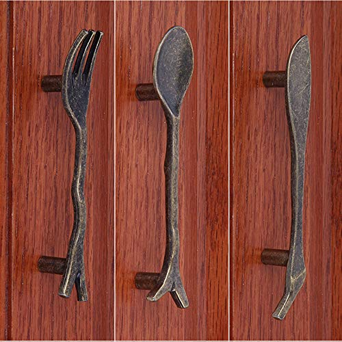 Bronze Spoon Knife Fork Kitchen Cabinet handles and knobs Cupboard Closet Bars Table Drawer knob Pulls - (Color: Silver Fork)