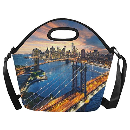 InterestPrint New York City Large Reusable Insulated Neoprene Lunch Tote Bag Cooler 15.04