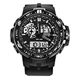 ETEVON Men's Multifunction Analog Digital Sport Watch Large Display Waterproof Alarm LED Light Stopwatch Date Military Outdoor Fashion Watches Black