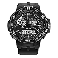 ETEVON Men's 'Air Force' Stylish Big Face Analog Digital Watch with Soft & Light Silicone Band - Dual Time Zone - 30M Waterproof - EL Backlight, Fashion Military Outdoor Sport Watches for Men - Black