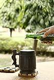 GoCraft Handmade Wooden Beer Mug with 18oz Stainless Steel Cup - Barrel Brown Classic Design