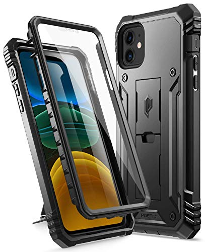 iPhone 11 Case, Poetic Full-Body Dual-Layer Shockproof Rugged Protective Cover with Kickstand, Built-in-Screen Protector, Revolution Series, for Apple iPhone 11 (2019) 6.1 Inch, Black