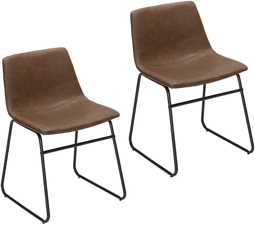 Amazon Com Furnirfun Set Of 2 Vintage Modern Design Dining Chair Brown Pu Faux Leather Seat Black Metal Base Chair For Dining Room Living Room Restaurant And Bedroom Chairs