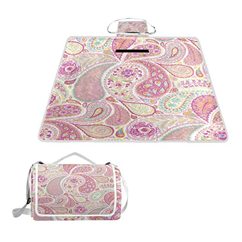 SHNUFHBD Hot Pink Paisley Picnic Blanket Foldable Waterproof Set with Backpack Custom Portable Mat for Outdoor Camping Hiking Travelling 57