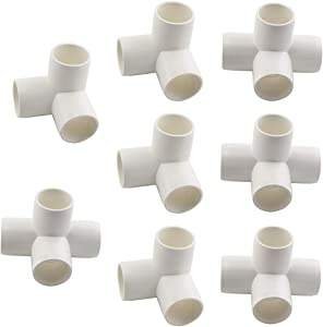 """SDTC Tech 1"""" PVC Fitting Kit Furniture Grade Pipe Elbow Connector for DIY PVC Shelf Garden Support Structure Storage Frame, White (4x 4 Way + 4x 3 Way)"""