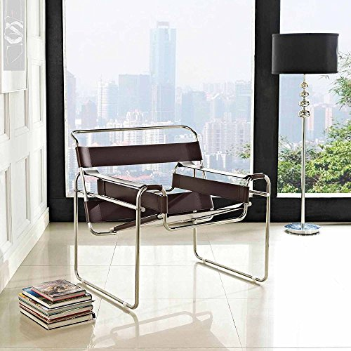 (Innovative Leatherette Sling Lounge Chair with Smooth Taut Leather Slings, Protective Rubber Foot Pads, Tubular Stainless Steel Construction, Striking Stylish Design, Brown + Expert Home Guide)