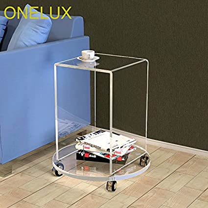 Amazon.com: ONELUX Rolling Acrylic Occasional U Table On Round Base ...